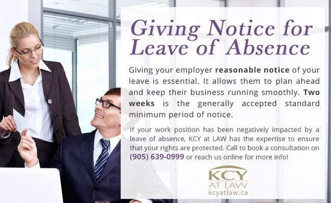 Giving Notice for Leave of Absence - Employment Law Advice - KCY at LAW