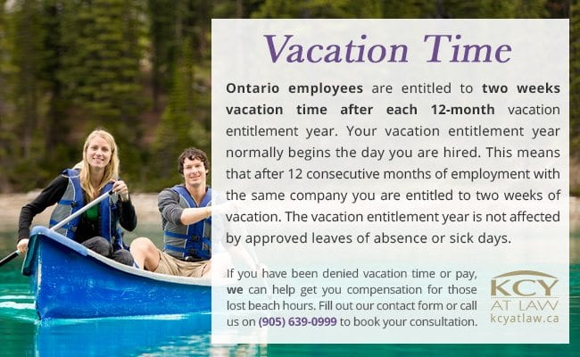 Vacation Time and Pay Breakdown Canada 2017 | KCY at LAW