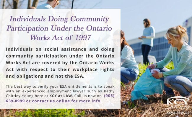 Employees Not Covered by ESA - Employment Lawyer Burlington - KCY at LAW