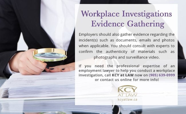 Workplace Investigation - Evidence Gathering - KCY at LAW