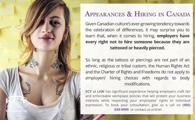 Tattoos and Piercings In The Workplace in Canada- KCY at LAW