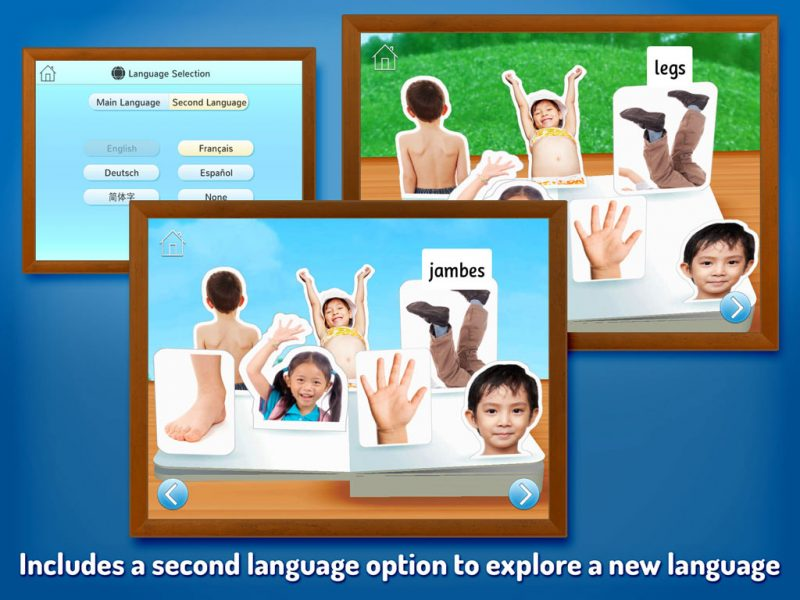Touch, Look, Listen - My First Words. An early learning app by StoryToys to help teach young children new words. Includes a second language option to explore a new language.