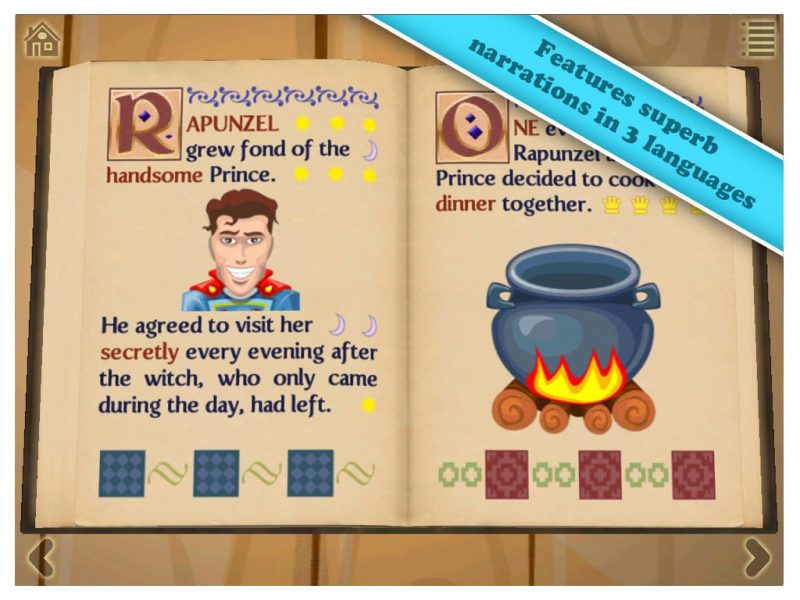 Grimm's Rapunzel, a 3D interactive pop-up book app by StoryToys. Features superb narration in 3 languages.