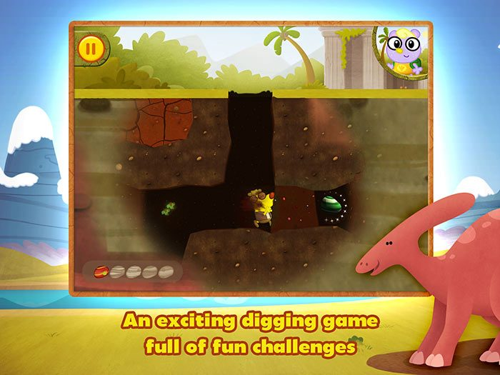 Dino Dog StoryToys App - a fun dinosaur app for kids with story and game. An exciting digging game full of fun challenges.