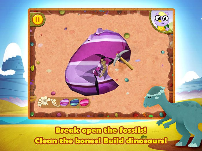 Dino Dog - a fun dinosaur app for kids with story and game by StoryToys. Break open the fossils, clean the bones and build dinosaurs.