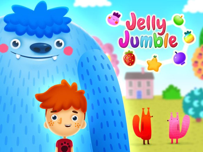 Jelly Jumble StoryToys Kids App. Available on iTunes and Google Play.