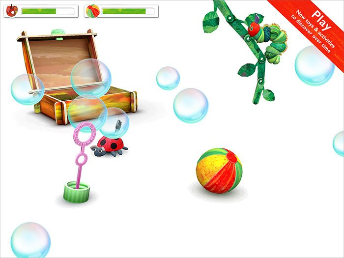 My Very Hungry Caterpillar kids' app by StoryToys. The more you play, the more surprises you'll find including new activities, new fruit, and new toys unlocked over time. Chase a bouncing ball, pop floating bubbles and watch out for the wind-up Grouchy Ladybug!