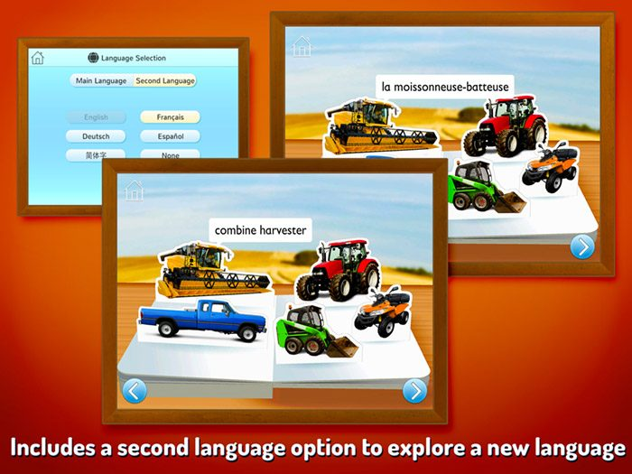 On The Farm ~ Touch Look Listen screenshot demonstrating the second language option which turns the app into a language learning tool. Choose from English, French, German, Spanish and SImplified Chinese