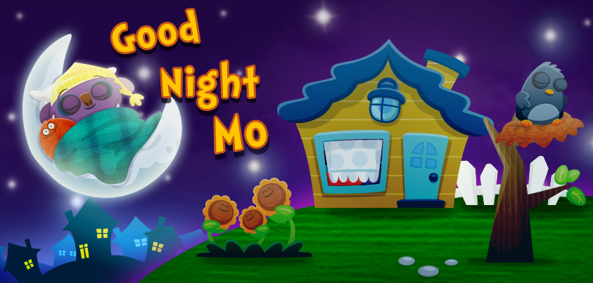 Goodnight Mo! kids' app by StoryToys. A magically sleepy and comforting bedtime book app for young children. App Store and Google Play icon.