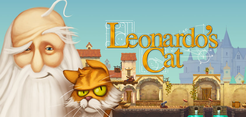 Leonardo's Cat title image featuring Leonardo da Vinci, his cat Scungilli set against the backdrop of the detailed and atmospheric 16th-century town of Amboise.